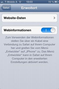 Aktivieren der Webinformationen im Mobile Safari