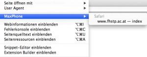 Auswahl der Website im Desktop-Safari