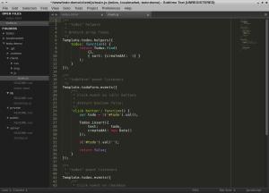 """""""main.js"""" Datei, in der linken Spalte sieht man die Ordernstruktur"""