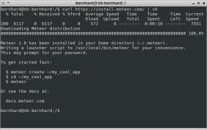 """Installation von Meteor und einer Demoapplikatoin (in diesem Fall heißt sie """"my_cool_app"""")"""