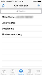 iPhone Kontakte