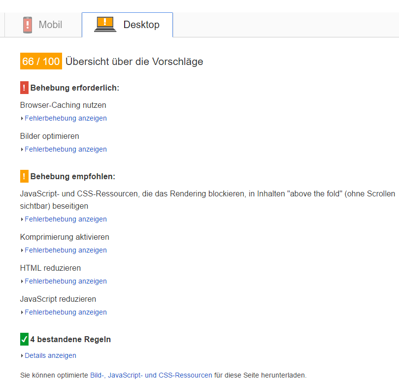 PageSpeed Insights ohne Optimierung