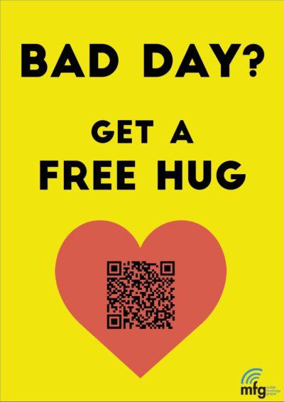 Plakat für Free Hugs in der FH