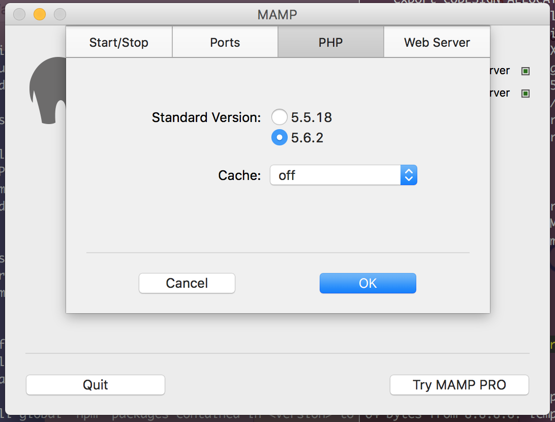 MAMP Preferences PHP version