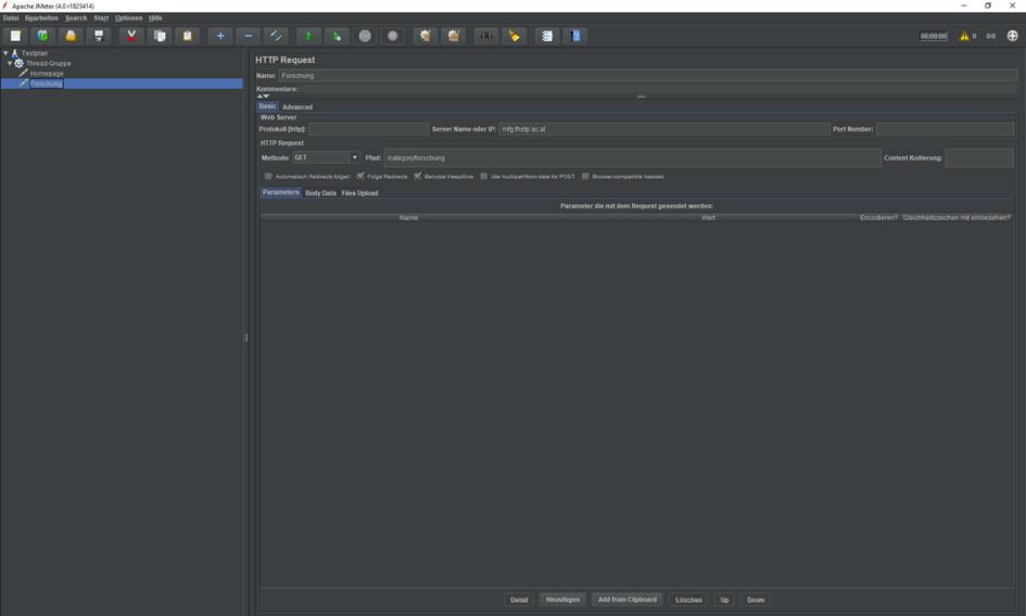 JMeter HTTP Requests erstellen