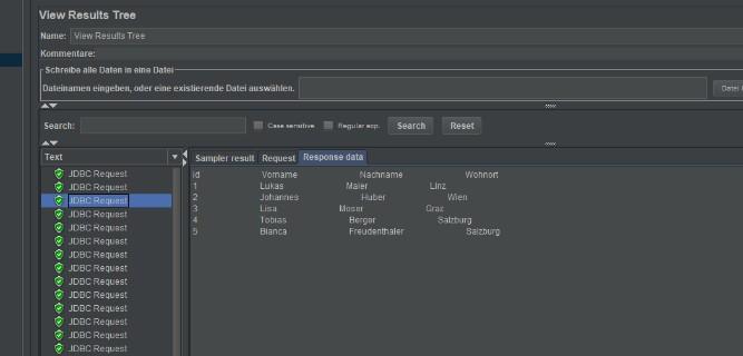 View Results Tree mit Ergebnissen der JDBC-Requests